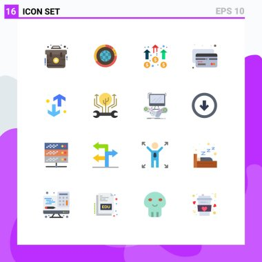 Universal Icon Symbols Group of 16 Modern Flat Colors of credit, mission, resources, marketing, business Editable Pack of Creative Vector Design Elements icon