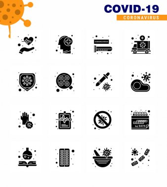 Corona virus 2019 and 2020 epidemic 16 Solid Glyph Black icon pack such as vehicle, medical, human, emergency, virus viral coronavirus 2019-nov disease Vector Design Elements icon