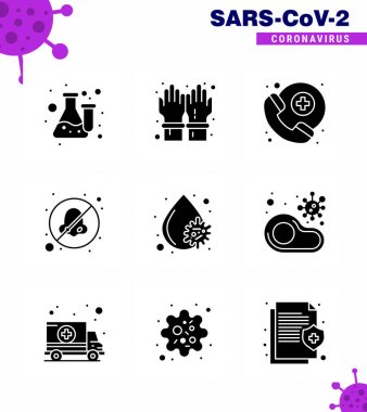 9 Solid Glyph Black coronavirus epidemic icon pack suck as  blood virus, avoid, secure, otolaryngologist, breathe viral coronavirus 2019-nov disease Vector Design Elements icon