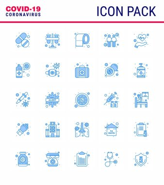 COVID19 corona virus contamination prevention. Blue icon 25 pack such as beat, touch, tubes, spread, safety viral coronavirus 2019-nov disease Vector Design Elements icon