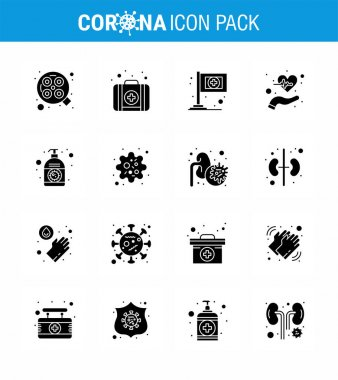 16 Solid Glyph Black coronavirus epidemic icon pack suck as corona, lotion, flag, pulses, health viral coronavirus 2019-nov disease Vector Design Elements icon