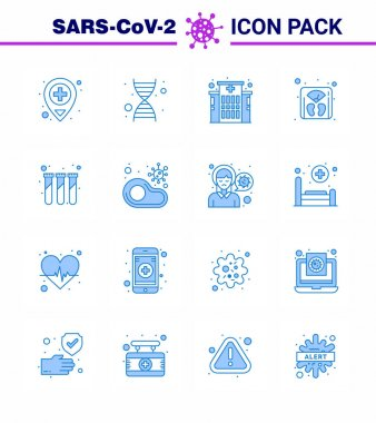16 Blue coronavirus epidemic icon pack suck as infected, test, hospital, lab, machine viral coronavirus 2019-nov disease Vector Design Elements icon
