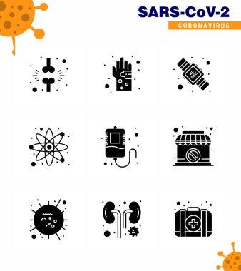 Novel Coronavirus 2019-nCoV. 9 Solid Glyph Black icon pack  science, atom, hand, washing, seconds viral coronavirus 2019-nov disease Vector Design Elements icon