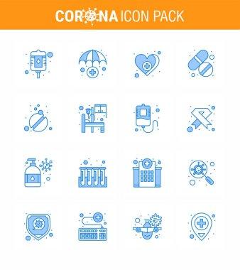 16 Blue viral Virus corona icon pack such as care, pills, medical, medicine, tablet viral coronavirus 2019-nov disease Vector Design Elements icon