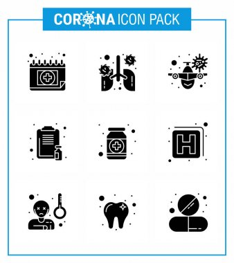 COVID19 corona virus contamination prevention. Blue icon 25 pack such as  report, healthcare, pneumonia, clipboard, warning viral coronavirus 2019-nov disease Vector Design Elements icon