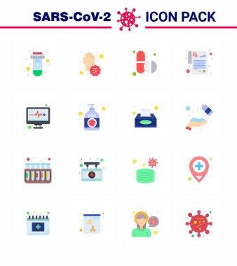 16 Flat Color coronavirus epidemic icon pack suck as medical monitor, rx, hands, prescription, capsule viral coronavirus 2019-nov disease Vector Design Elements icon