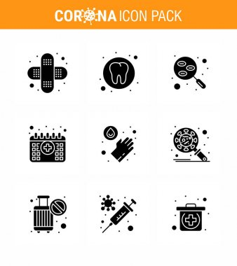Covid-19 icon set for infographic 9 Solid Glyph Black pack such as  medical, time, lab, medical, appointment viral coronavirus 2019-nov disease Vector Design Elements icon