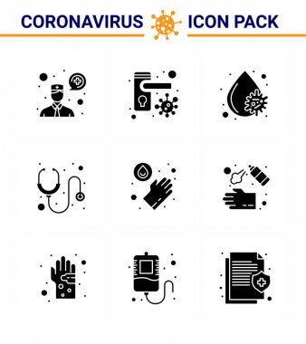 Novel Coronavirus 2019-nCoV. 9 Solid Glyph Black icon pack  washing, hands, blood virus, stethoscope, hospital viral coronavirus 2019-nov disease Vector Design Elements icon