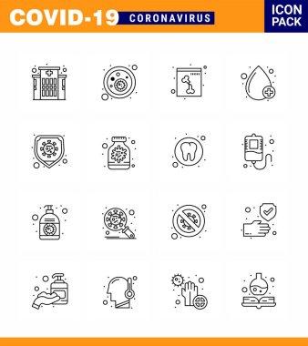 16 Line viral Virus corona icon pack such as virus, safety, skull, disease, type viral coronavirus 2019-nov disease Vector Design Elements icon