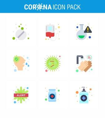 9 Flat Color viral Virus corona icon pack such as  disease, corona, lab, virus, nose viral coronavirus 2019-nov disease Vector Design Elements icon