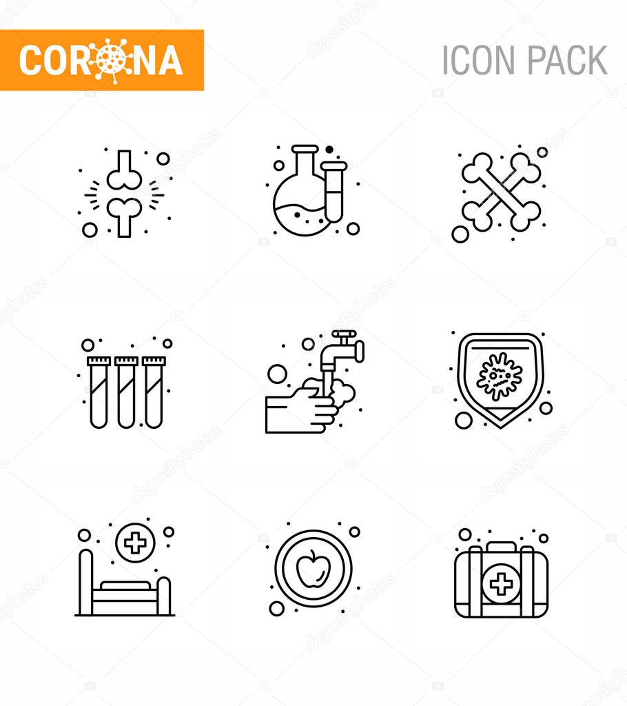9 Line Coronavirus Covid19 Icon pack such as  washing  hands  bones  test tubes  lab viral coronavirus 2019-nov disease Vector Design Elements icon
