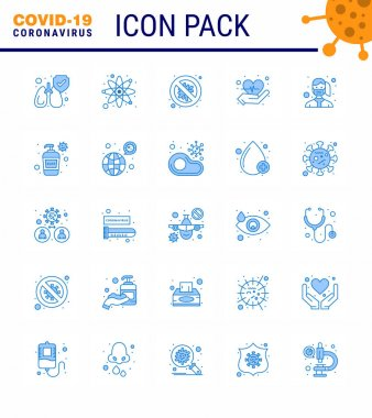 COVID19 corona virus contamination prevention. Blue icon 25 pack such as protection, face, protection, love, care viral coronavirus 2019-nov disease Vector Design Elements icon