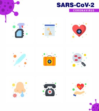 Corona virus 2019 and 2020 epidemic 9 Flat Color icon pack such as  medicine, first aid, heart, thermometer, fever viral coronavirus 2019-nov disease Vector Design Elements icon