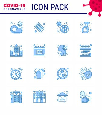 Simple Set of Covid-19 Protection Blue 25 icon pack icon included spray, cleaning, pills, virus, infection viral coronavirus 2019-nov disease Vector Design Elements icon