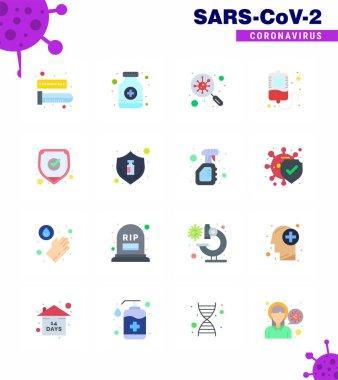 16 Flat Color viral Virus corona icon pack such as protection, donation, bacteria, transfusion, search viral coronavirus 2019-nov disease Vector Design Elements icon