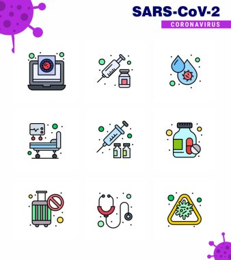 COVID19 corona virus contamination prevention. Blue icon 25 pack such as flu, icu, vaccine, hospital bed, fever viral coronavirus 2019-nov disease Vector Design Elements icon