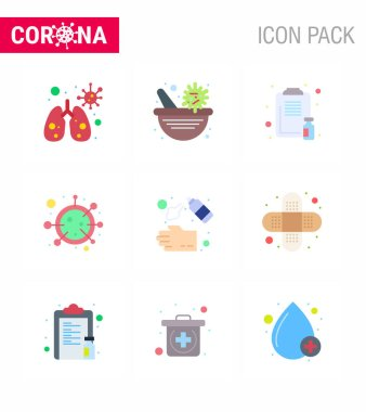 9 Flat Color viral Virus corona icon pack such as  hand spray, life, healthcare, covid, virus viral coronavirus 2019-nov disease Vector Design Elements icon