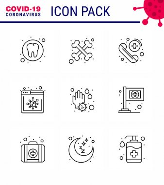 Novel Coronavirus 2019-nCoV. 9 Line icon pack  water drop, soap, emergency, hand, news viral coronavirus 2019-nov disease Vector Design Elements icon