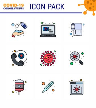 Coronavirus Precaution Tips icon for healthcare guidelines presentation 9 Filled Line Flat Color icon pack such as coronavirus, survice, appointment, medical assistance, care viral coronavirus 2019-nov disease Vector Design Elements icon