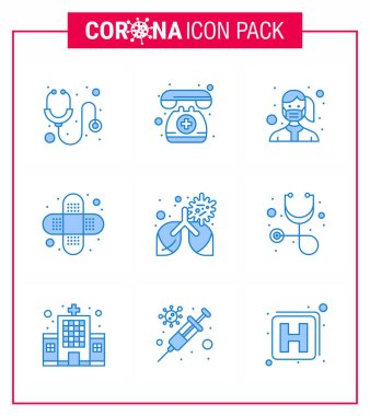 9 Blue coronavirus epidemic icon pack suck as disease, injury, face, bandage, wear viral coronavirus 2019-nov disease Vector Design Elements icon