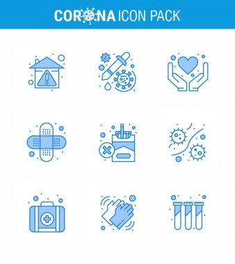 Corona virus disease 9 Blue icon pack suck as forbidden, bandage, vaccine, aid, heart viral coronavirus 2019-nov disease Vector Design Elements icon