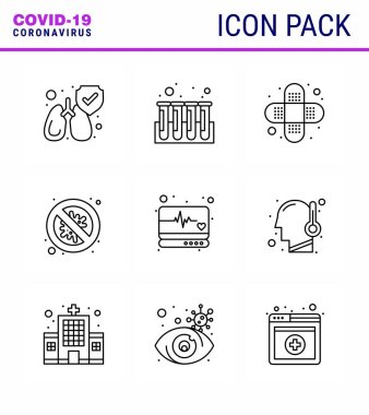 Coronavirus Precaution Tips icon for healthcare guidelines presentation 9 Line icon pack such as  supervision, emergency, bandage, danger, security viral coronavirus 2019-nov disease Vector Design Elements icon