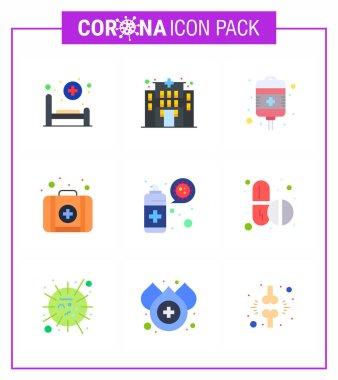 Novel Coronavirus 2019-nCoV. 9 Flat Color icon pack  protection, spray, recovery, cleaning, kit viral coronavirus 2019-nov disease Vector Design Elements icon