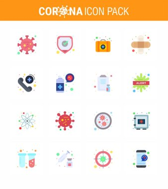 Corona virus 2019 and 2020 epidemic 16 Flat Color icon pack such as medical, call, shield, injury, aid viral coronavirus 2019-nov disease Vector Design Elements icon