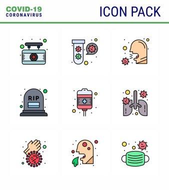 9 Filled Line Flat Color Coronavirus Covid19 Icon pack such as mortality, count, virus, sneeze virus, illness viral coronavirus 2019-nov disease Vector Design Elements icon