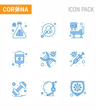 9 Blue coronavirus epidemic icon pack suck as strand, genetics, icu, dna, treatment viral coronavirus 2019-nov disease Vector Design Elements icon