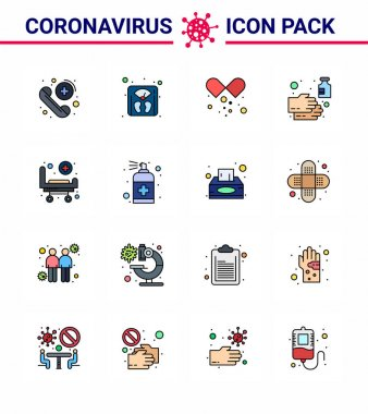 Corona virus disease 16 Flat Color Filled Line icon pack suck as strature, wash, drugs, soap, cleaning viral coronavirus 2019-nov disease Vector Design Elements icon