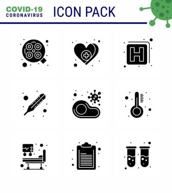 COVID19 corona virus contamination prevention. Blue icon 25 pack such as  no, food, hospital, infected, temperature viral coronavirus 2019-nov disease Vector Design Elements icon