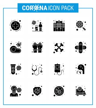 Simple Set of Covid-19 Protection Blue 25 icon pack icon included virus, interfac, virus, glass, scan virus viral coronavirus 2019-nov disease Vector Design Elements icon