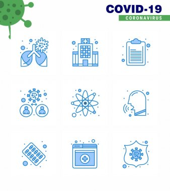 COVID19 corona virus contamination prevention. Blue icon 25 pack such as laboratory, virus, check list, transmission, man viral coronavirus 2019-nov disease Vector Design Elements icon