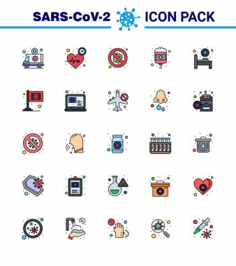 25 Flat Color Filled Line Coronavirus Covid19 Icon pack such as treatment, drip, time, danger, security viral coronavirus 2019-nov disease Vector Design Elements icon