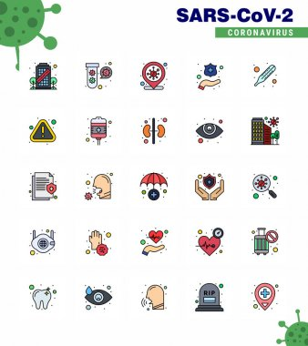 Covid-19 icon set for infographic 25 Flat Color Filled Line pack such as temperature, washing, virus, hands, infection place viral coronavirus 2019-nov disease Vector Design Elements icon