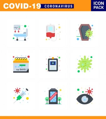 Coronavirus Precaution Tips icon for healthcare guidelines presentation 9 Flat Color icon pack such as  hospital chart, clinical record, death, schedule, event viral coronavirus 2019-nov disease Vector Design Elements icon