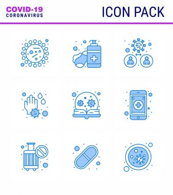 COVID19 corona virus contamination prevention. Blue icon 25 pack such as water drop, soap, hands care, hand, transmission viral coronavirus 2019-nov disease Vector Design Elements icon