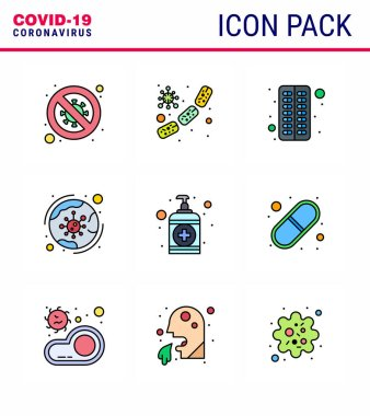 Corona virus disease 9 Filled Line Flat Color icon pack suck as coronavirus, worldwide, microbe, pill, capsule viral coronavirus 2019-nov disease Vector Design Elements icon