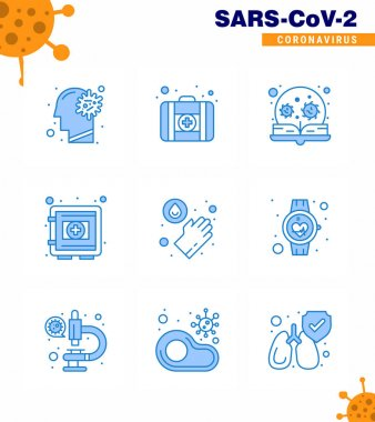 9 Blue viral Virus corona icon pack such as securitybox, protection, education, medical, virus viral coronavirus 2019-nov disease Vector Design Elements icon