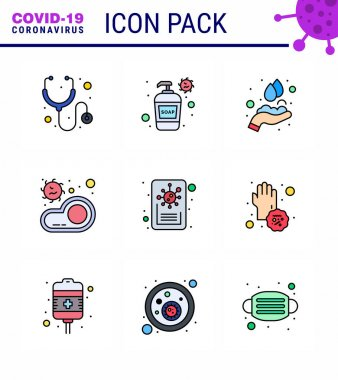 Covid-19 icon set for infographic 9 Filled Line Flat Color pack such as report, virus, hands, transmission, food viral coronavirus 2019-nov disease Vector Design Elements icon