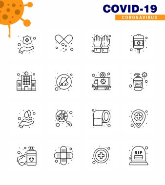 16 Line viral Virus corona icon pack such as clinic, health care, hand, health care, recovery viral coronavirus 2019-nov disease Vector Design Elements icon