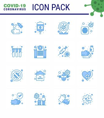16 Blue Coronavirus Covid19 Icon pack such as experiment, virus, health care, bacteria, infection place viral coronavirus 2019-nov disease Vector Design Elements icon