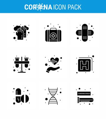 9 Solid Glyph Black Coronavirus Covid19 Icon pack such as  health, beat, bandage, tubes, lab viral coronavirus 2019-nov disease Vector Design Elements icon