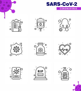 Covid-19 icon set for infographic 9 Line pack such as  pills, shield, health care, safeguard, nose infection viral coronavirus 2019-nov disease Vector Design Elements icon