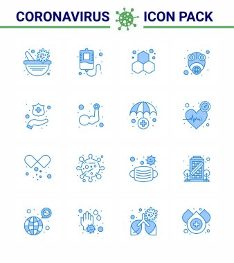 Coronavirus Precaution Tips icon for healthcare guidelines presentation 16 Blue icon pack such as hands, virus, experiment, protect, gas viral coronavirus 2019-nov disease Vector Design Elements icon