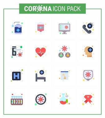 Coronavirus Precaution Tips icon for healthcare guidelines presentation 16 Flat Color icon pack such as care, emergency, health care, call, virus viral coronavirus 2019-nov disease Vector Design Elements icon