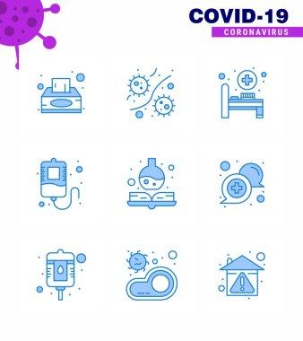 9 Blue Coronavirus Covid19 Icon pack such as medicine book, handbook, viruses, donation, blood viral coronavirus 2019-nov disease Vector Design Elements icon