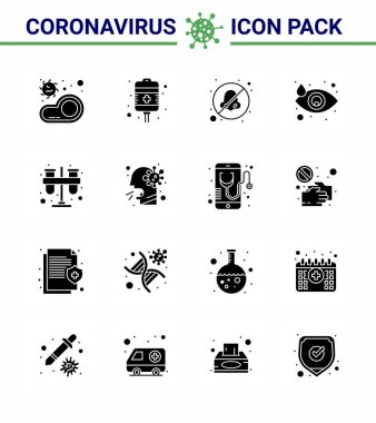 Corona virus disease 16 Solid Glyph Black icon pack suck as test, eye, health care, drop, avoid viral coronavirus 2019-nov disease Vector Design Elements icon