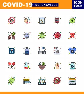 Coronavirus Precaution Tips icon for healthcare guidelines presentation 25 Flat Color Filled Line icon pack such as flu, treatment, wash, recovery, xray viral coronavirus 2019-nov disease Vector Design Elements icon